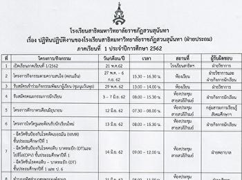ปฏิทินปฏิบัติงานของโรงเรียน ภาคเรียนที่ 1 ปีการศึกษา 2562
