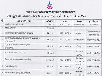 ปฏิทินวิชาการโรงเรียนสาธิต (ฝ่ายประถม) ภาคเรียนที่ 1 ปีการศึกษา 2564